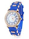 quartz analogique Diamante cas bande de silicone montre-bracelet des femmes (couleurs assorties)