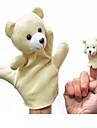 2PCS Parent-enfant Hand & Finger Puppets Ours Beige