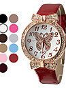 Women's Gold Dial Butterfly Pattern PU Analog Quartz Wrist Watch (Assorted Colors)