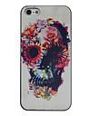 아이폰 5/5S용 꽃장식 해골 칼라 드로잉 패턴 블랙 프레임 PC 하드 케이스