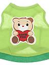 Cachorro Camiseta Roupas para Caes Desenho Animado Verde Algodao Ocasioes Especiais Para animais de estimacao