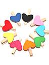 Cor em forma de coração pintado Clipes de madeira (10 peças)