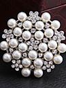Broche ronde strass perle des femmes (couleur aléatoire)