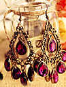 European and American jewelry retro hollow flowers large gemstone drop earrings E195