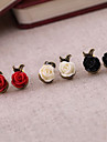 Brincos Curtos Resina Liga Formato de Flor Rose Branco Preto Vermelho Jóias Para Festa Diário