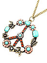 European and American retro sweater chain full of diamond peace sign N75