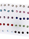 40pcs Women\'s Stud Earrings - Rhinestone Ladies Simple Style Fashion Jewelry Red / White For Party Daily Casual Office & Career / 36pcs