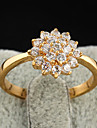 Gold plated bronze zircon Ring J1208