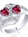 senhora chique 925 Terling anel ilver com o coração gêmeo zircão 5 milímetros
