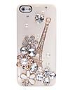 Циркон Эйфелева башня шаблон металлические украшения Назад Чехол для iPhone 5/5S