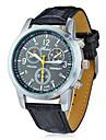 Round Dial Pu Banda Quartz analógico relógio de pulso dos homens