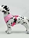 Dog Harness Adjustable / Retractable Polka Dot Fabric Black Green Blue Pink