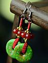 Ethnic (Jade Drop) Green Agate Drop Earrings (1 Pair)