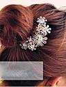 여성용 우아한 머리 빗 크리스탈 합금, 꽃패턴