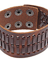 Punk 22Cm Men'S Coffee  Leather Bracelet(Coffee)(1 Pc)