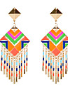 European Style Bohemia Multicolor Square Drop Earrings