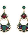 Ethic Style Green Chandelier Shape Green Resin Drop Earrings