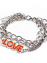 Fashion Silver LOVE Chain & Link Bracelet(Random Color)