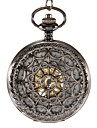 Unisex Mechanical Hollow Black Case Analog Skeleton Pocket Watch Cool Watches Unique Watches