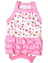 Cat Dog Dress Dog Clothes Fruit Pink Cotton Costume For Summer