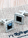 Luxurious Square Silver Plated & Agate Men's Cufflinks (Black,1 Pair)