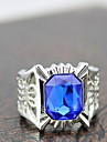 Z&X®  European Silver Alloy Rectangle Men's Blue Rhinestone Statement Rings(1 Pc)