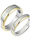 fahion amante tainle teel para sempre o amor anel de ouro par borda (2 pc)