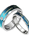 Fashion Lovers Stainless Steel Forever Love Blue Couple Rings (2 Pcs)
