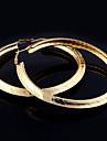 Lureme®Punk Style Gold Tone Circle Hoop Earrings