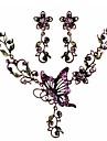 роскошный цветок формы бабочка фиолетовая сплава (ожерелье&серьги) комплект ювелирных изделий