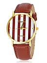 여자의 신선한 스트라이프 패턴 둥근 다이얼 PU 밴드 석영 아날로그 손목 시계 (분류 된 색깔)