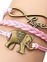 shixin® Европейский слон 18см женщин розовый кожаный браслет обруча (1 шт)