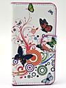 Linda Caixa branca das flores de borboletas padrão couro com slot para cartão e suporte para Samsung Galaxy Express 2 G3815