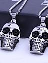 Εξατομικευμένη δώρο κοσμήματα κρανίο Σχήματα ανοξείδωτο ατσάλι Χαραγμένο κολιέ κρεμαστό κόσμημα με 60 εκατοστά Αλυσίδα