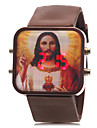 Unisexe Modèle Jésus LED rouge numérique de bande de silicone de montre-bracelet (couleurs assorties)