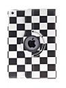 Kinston 360 graus Rotatable Quadrados preto e branco Padrao PU Leather Case Full Body com suporte para iPad Air