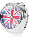 Women's The UK Flag Pattern Round Dial Alloy Band Quartz Analog Ring Watch Cool Watches Unique Watches