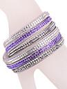 bracelet en cuir bracelet en strass violet multicouche