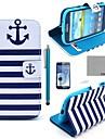 Coco divertido ® marinha padrão azul âncora estojo de couro pu com protetor de tela, caneta e ficar para i9300 Samsung Galaxy S3