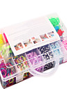 Rainbow Colorful Loom Bands Kit 13 Cells Multicolor Rubber Band Family Set(4200 Pcs) And Connector