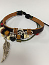 Men's Charm Bracelet Leather Bracelet Beaded Leather Fabric Alloy Leaf Jewelry Sports