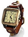 Women's Vintage Style Square Dial Leather Band Quartz Analog Wrist Watch (Assorted Colors)