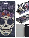 Purple Roses Skulls Pattern PU Leather Full Body Case with Card for Sony Xperia M2 S50h