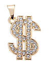 Exquisite High Quality Shining Golden Rhinestone US Dollar Pendant(1 Piece)