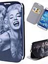 motif de marilyn de tatouage de bande dessinée pleine cas de corps avec le stand pu étui en cuir pour les i9500 Samsung Galaxy S