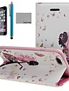 Coco fun® бабочка девушка шаблон PU кожаный чехол с экрана Protecter, подставка и стилус для Iphone 6 плюс 5,5