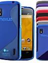 «s» de style TPU étui de protection arrière souple pour LG Nexus 4 / E960 (couleurs assorties)