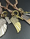 Vintage Cross Angel Wing Pendant Long Genuine Leather Men Necklace