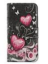 coracao-de-rosa de couro pu caso de corpo inteiro com slot para cartao de suporte e para o iPhone 6