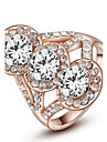 Noble And Elegant Party Jewelry 18K Rose Gold Plated Shining Triple Clear Austria Crystal Finger Ring
